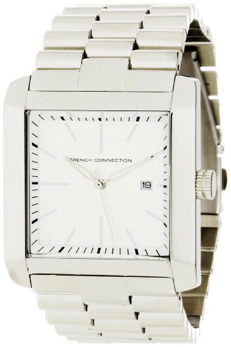 French Connection Men's FC1001S Classic Stainless Steel Square Case Watch