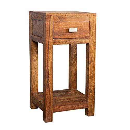 Massiver-Design-MAKASSAR-Beistelltisch-Sheesham-70cm-stone-finish-Nachttisch-Telefontisch-Tisch