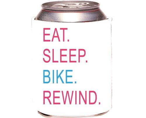 Rikki Knighttm Eat Sleep Bike Rewind Pink & Blue Design Drinks Cooler Neoprene Koozie front-568955