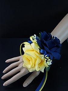 Amazon.com - Wrist corsage:Navy Blue, Yellow, Rose baby breath Silk