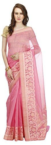 Banarasi-Silk-Works-Womens-Jute-Banarasi-Saree-Pink