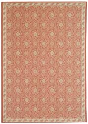 "3'9"" x 5'11"" Rectangular Oscar Isberian Rugs Area Rug Cherry/Blossom Color Machine Made Belgium ""Martha Stewart Collection"" Pinwheel Design"