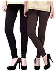 2Day Women's Cotton Churidaar Legging Black/Brown (Pack Of 2)
