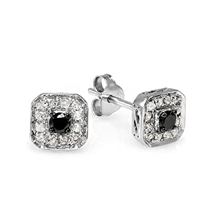 0.50 Carat (ctw) Sterling Silver Ladies Round Black and White Diamond Stud Earrings
