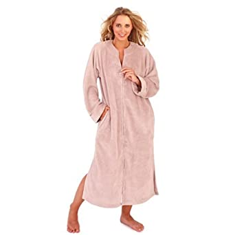 Ladies Taupe colour corel fleece long robe with full zip ...