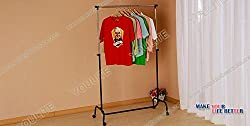 1 Piece HOMIES Brand (Registered), Multi-function utility telescopic extendable Laundry clothes drying rack, hanger storage, storage cart with wheels, Trolley for easy mobility, Portable Stainless Steel Single Clothes Rack Hanger Cloth Garment Dryer(Multicolor)