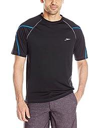 Speedo Men\'s UPF 50+ Breaker Short Sleeve Rashguard Swim Tee, Black, X-Large