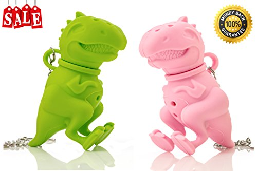 Wishstone Mr & Miss T-Rex Dinosaur Tea Infuser Dino Cute Tea Infuser Set of 2 - Green And Pink - Good Addition To Nessie Loch Ness Monster Mister Manatee Deep Tea Scuba Diver Sloth Filter Strainer (Kettle Hello Kitty compare prices)