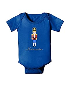 Nutcracker Design - Red Gold Black Text Baby Romper Bodysuit Royal Blue - 6 Months
