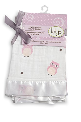 "Lulujo Baby Muslin Cotton Security Blankets, Owl Always Love You/Pink, 2 Count, 16"" x 16"""