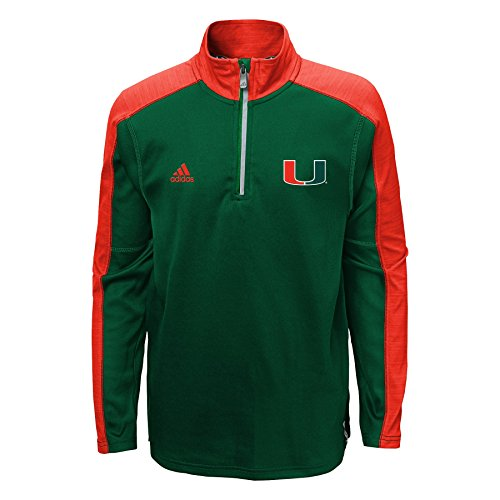 Miami Hurricanes Adidas Youth ClimaLite Quarter Zip Pullover