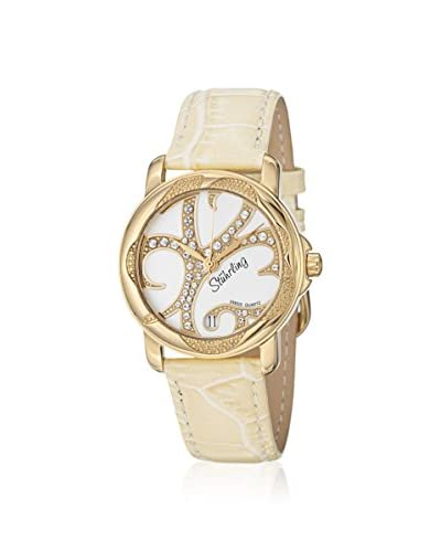 Stuhrling Women's 138.123S2 Vogue Isis Cream/Gold Leather Watch