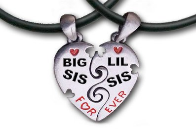 Big Sis & Lil Sis Heart Pendant Necklaces  chains.