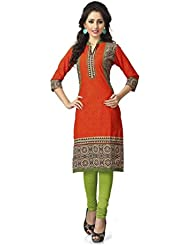 Orange Colour Faux Cotton Official Wear Abstract Printed Full Stitched Kurti 202