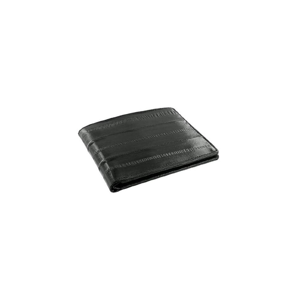 MWE703 BK Eel Skin Leather Credit Card Holder Black Wallet