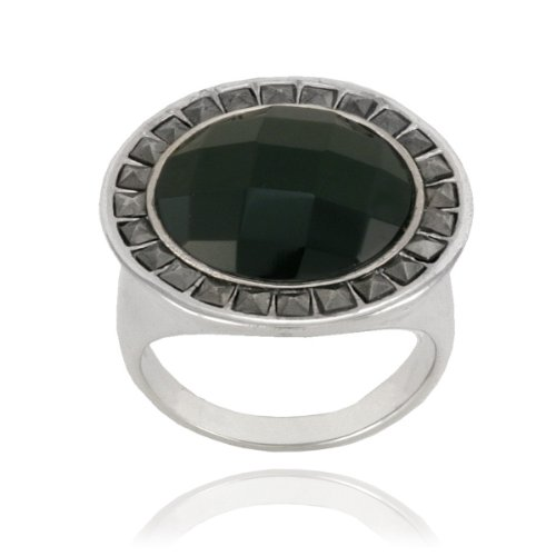 Sterling Silver Marcasite and Faceted Round Onyx Ring, Size 6
