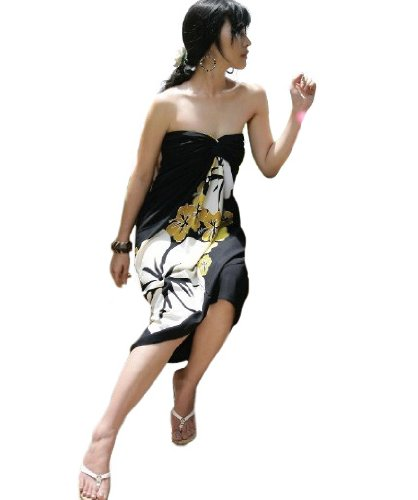 Waooh - Beach - Sarong with Flower - Black