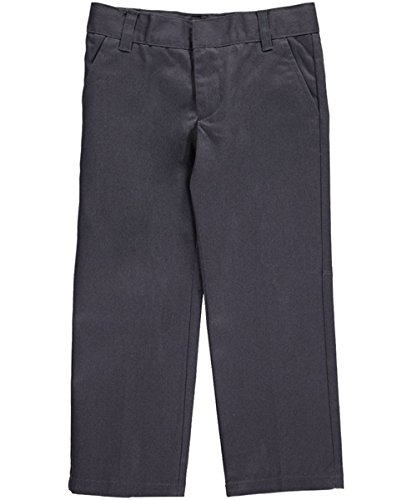 French Toast Little Boys' Flat Front Wrinkle No More Double Knee Pants - gray, 7