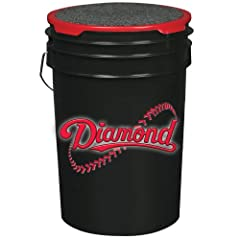 Buy Diamond 6-Gallon Ball Bucket with Lid, Black by Diamond Sports