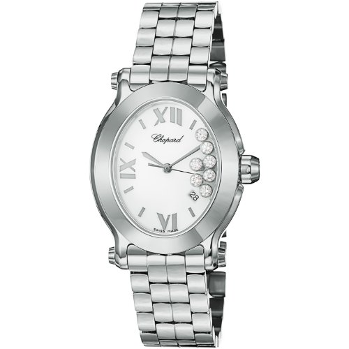 Chopard Happy Sport Oval Ladies Stainless Steel Diamond Watch 278546-3003