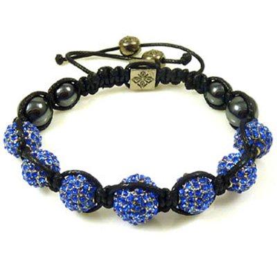 Sapphire Blue 7 Crystal Ball Shamballa Style Bracelet - Gift Boxed