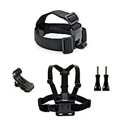 ANART Action Camera Kit Accessories Head Strap Chest Strap Mount Harness J-Hook w/ 2 Long Screws for GoPro Hero 1 2 3 3+ 4 GeekPro ANART