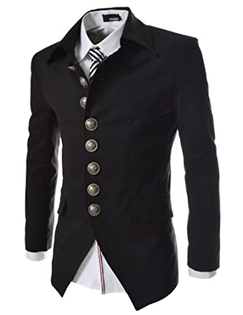 TheLees Mens Casual Slim 8 Button Jacket Black Large(US Medium)