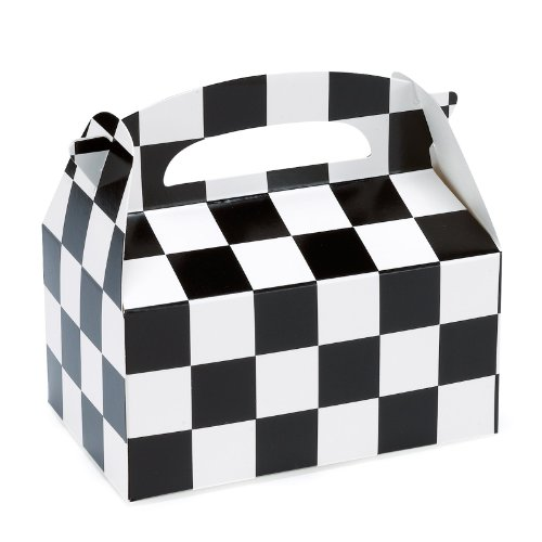Party Destination - Black and White Check Empty Favor Boxes