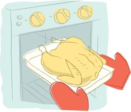 Hands In Oven Mitts Taking A Roast Chicken Out Of The Oven Wall Decal - 30 Inches W X 26 Inches H - Peel And Stick Removable Graphic front-640244