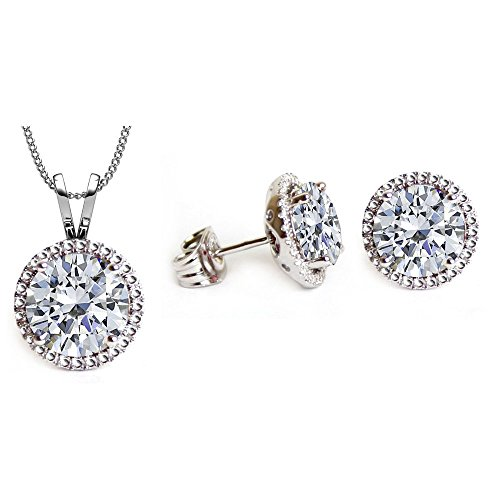 Swarovski Crystals April Birthstone Crystal Stud Pendant & Earrings Set