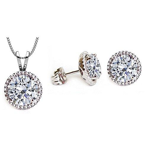 Swarovski Crystals April Birthstone Crystal Stud Pendant & Earrings Set