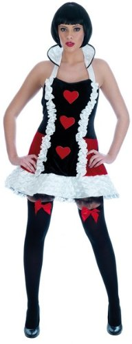 Ladies Sexy Queen Of Hearts Fancy Dress Costume Size 8-10 Small