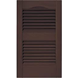 12 in. Vinyl Louvered Shutters in Federal Brown - Set of 2 (12 in. W x 1 in. D x 79 in. H (7.22 lbs.))