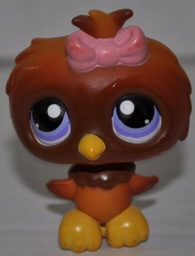 Owl #354 (Brown, Blue Eyes) Littlest Pet Shop (Retired) Collector Toy - LPS Collectible Replacement Single Figure - Loose (OOP Out of Package & Print) - 1