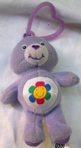 "4"" Plush Care Bear, Harmony Bear, Clip on Doll Toy - 1"