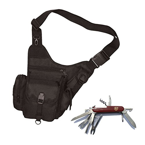 Fox Outdoor Tactical Hipster Blk - With Free 14 Function Swiss Style Pocket Knife