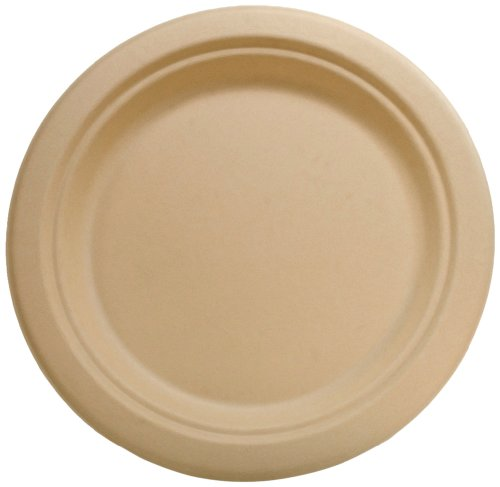 "Ifn Green 35-3002 Bamware Bamboo Fiber Round Plate, 9"" Diameter (Case Of 500)"