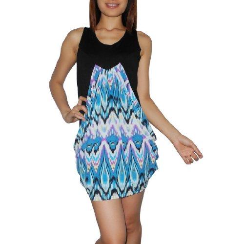 Women Thai Exotic Fashion Cute Stretchy Cowl Skirt Sleeveless Mini Tank Dress - Size: M