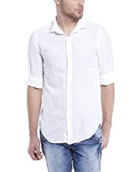 Mike & Smith White Linen Slim fit Shirts