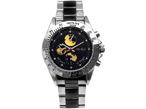 Disney ディズニー ミッキー 生誕80周年 記念 シークレット ミッキー腕時計 コンビベルト×ゴールドミッキー スワロフスキー 黒 銀 金【並行輸入品】