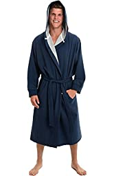 Del Rossa Men\'s Cotton Robe, Sweatshirt Style Hooded Bathrobe, Large XL Midnight Blue (A0311MBLXL)