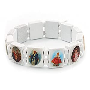 Stretch, Weiß, Holz, Heiligenanhänger Armband/Jesus Armband/Allerheiligen Armband - bis Länge 20 cm