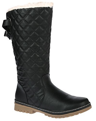 ladies-womens-quilted-mid-calf-boots-grip-thick-sole-faux-fur-lined-shoes-sz-3-9