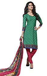 Sree Impex Women Leone Printed Crepe Salwar Suit Dress Material (SI-SK-31_Green_Free Size)