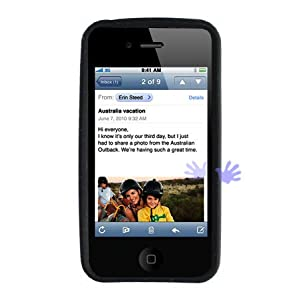 Apple iPhone 4 4G (Newest Model!) Silicone Skin Case (Black)