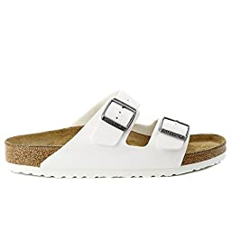 Birkenstock Arizona Patent Leather Sandal, White Birko-Flor?, 42 (US Men's 9-9.5, US Women's 11-11.5) Regular