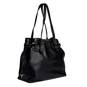 Prada BR1594 Black Leather Tote Handbag
