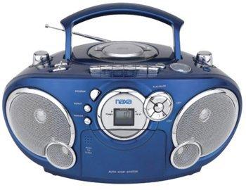 Naxa NPB-207LQ Boomboxes Portable CD AM/FM Stereo Radio Cassette Player/Recorder- Blue