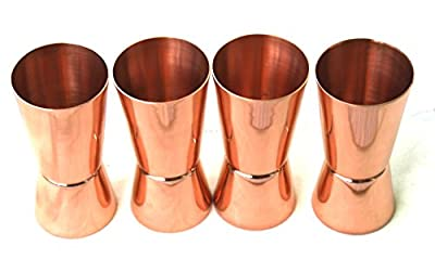 STREET CRAFT 100% Solid Pure Copper Jigger Shot Glasses Double Jiggers - 2oz / 1oz,(30 ML /20 ML)