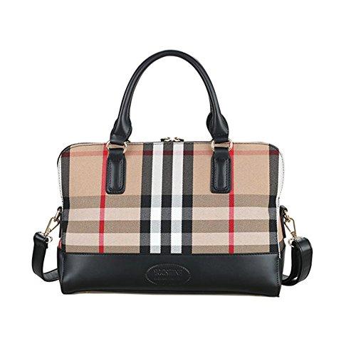 LadyHouse New Grid Fashion Western Lattice Canvas Big Handbag(C1)